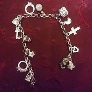 Sterling silver Swarovski charm bracelet NWOT